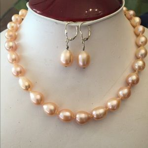 Hand Knotted Baroque Pearl Necklace and Earrings
